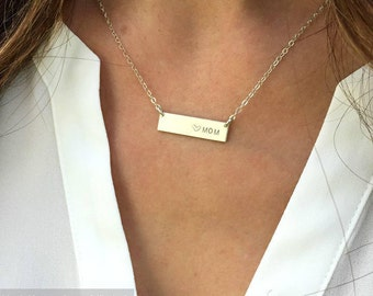 Custom Name Bar Necklace, Short Bar Necklace, Personalized Bar Necklace, Gold Fill,Sterling Silver,Bridesmaid Necklace,LEILAjewelryshop,N280