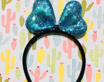 Cute Teal Sequin Bow Headband