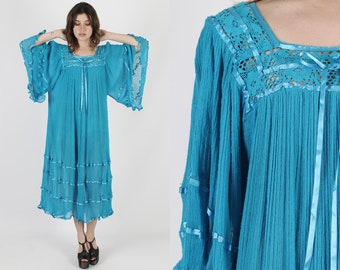 Turquoise Dress Gauze Dress Angel Sleeve Dress Mexican Dress Vintage 80s Teal Fiesta Crochet Teal Kimono Sleeve Caftan Midi Maxi Dress M