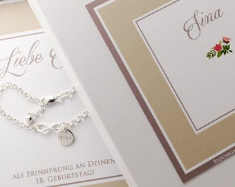 Infinity 925 silver bracelet engraved name bracelet