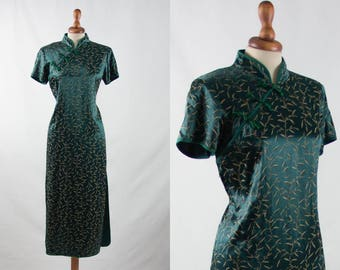 50s 40s dress, cheongsam dress, vintage chinese dress, mandarin dress, green satin dress, Qipao dress, dark green dress