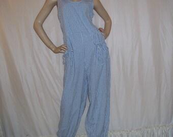 Puffy Romper Beach Sun Suit Party Resort Jumpsuit Vintage Blue Gingham Hippie Dreams Mama Cruise Romper Retro Maternity Adult L Jumpsuit