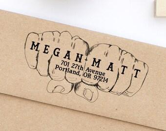 Tattoo Stamp, Custom Address Stamp, Tattoo Stamp, Rock and Roll Wedding Address Stamp, Wedding Stamp, Return Address Stamp Style No. 127