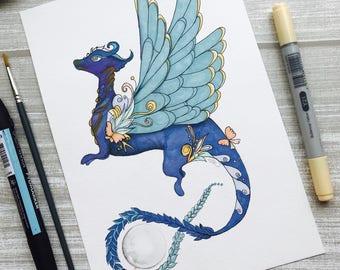 blue mythical dragon art,Dragon art print,kids valentines day gift,dragon print kids,children wall art,kids room decor,illustrations kids,