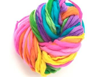 Rainbow yarn, 54 yards, self striping, handspun super bulky in merino wool - 3.3 ounces/ 94 grams