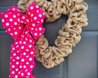 Heart Wreaths, Burlap Heart Wreath, Burlap Decor, Heart Decor, Valentines Gift, Valentines Wreaths, Pink Polka Dots, Baby Girl Gift, Love