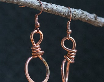 Unique. One-of-a-kind. Copper Hoop Earrings 14 ga. Free U.S. Shipping. Handmade.