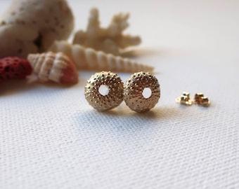 Sea Urchin Stud Earrings, 9ct Gold. Beach Wedding Bridesmaid, Girls Birthday Gift, Modern Earrings, Ocean Beach Nautical Jewellery, Shells