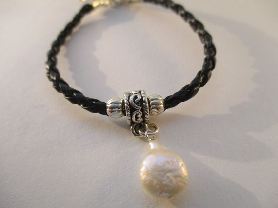 Freshwater Pearl and Black Braided Cord Bracelet B919174