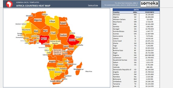 Africa heat map excel template automatic country coloring gumiabroncs Gallery