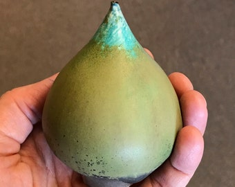 Rose Cabat Feelie - Olive with Turquoise, Pear Shape, Modernist Pottery -JC77