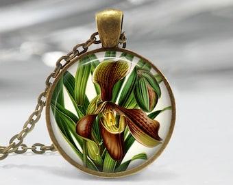 Orchid Pendant, Flower Art Pendant, Orchid Necklace, Botanical Art Jewelry, Vintage Art Pendant, Bronze, Silver, Orchid Flowers FL54