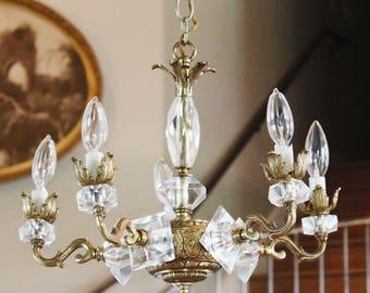 Crystal Art Deco Brass Antique Chandelier Gorgeous