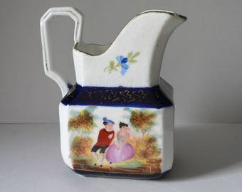 Antique Hand-painted Staffordshire Creamer