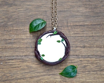 Mirror necklace, amulet protection Talisman size 4.5 cm twigs leaves Ladybird handmade