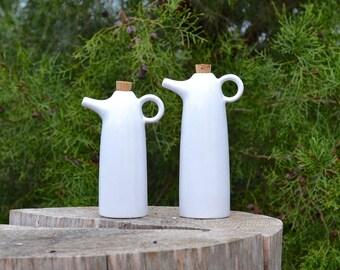 Oil and Vinegar or Soy and Vinegar - white ceramic set