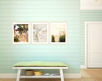 Art, Photography, Coastal Prints. Beach Art, Print Set, Coastal Home Decor, Seashore Decor, Green, Ivory, Cream, Golden, Ocean Prints