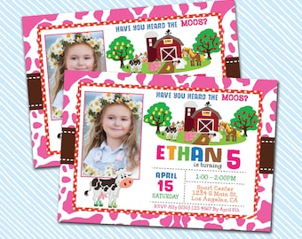 Digital Printable Farm Birthday Invitation. Moos birthday invite. Girl Birthday