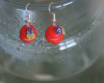 Miniature food jewelry, red macaron, blue berry, christmas team, polymer clay, food earrings