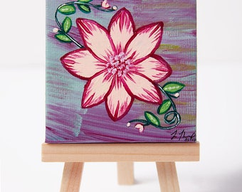 Original abstract flower miniature acrylic painting on canvas, comes with mini easel, size 6.5 x 6.5cm