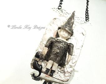 Charlotte The Good Witch Frozen Charlotte Doll Necklace Soldered Frozen Charlotte Black Cat Doll Pendant Lorelie Kay Original