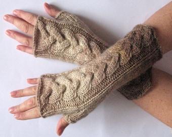 Fingerless Gloves Cream Brown Beige Sand wrist warmers