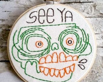 "green & orange SEE YA skull - 5"" hand embroidered wall hanging"