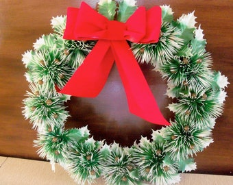 Vintage 60s Plastic Christmas Wreath with Paper Velvet Bow 16""
