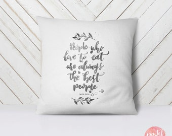 People Who Love To Eat Monochrome Font - Throw Pillow Case, Pillow Cover, Home Decor - TPC1149