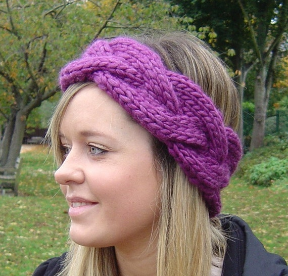 Easy headband knitting pattern quick knit plaited cable dt1010fo