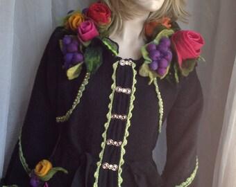 FINAL SALE  - Felt coat Felted coat Sweater Coat Boho Festival Woodland refashioned OOAK Art to Wear Medium size Ready to ship