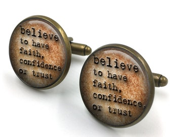 Believe Dictionary Cuff Links, Dictionary Cufflinks, Dictionary Sayings Jewelry, Believe Meaning,Stamped Jewelry, gift for men, gift for him