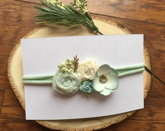 Mint green, light blue, and ivory tie-back headband