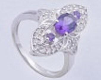 Amethyst ring,925 sterling silver ring,Handmade ring,sterling silver ring