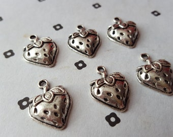 Antiqued Silver Strawberry Charms (5)