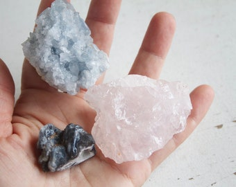 Crystal Altar Collection, Meditation Crystals, Rose Quartz, Celestite, Agate, New Age, Metaphysical Decor