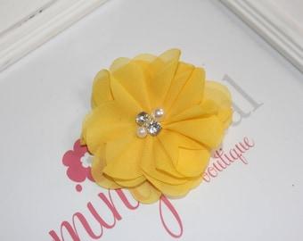 Yellow Chiffon Rhinestone/Pearl Flower Clip