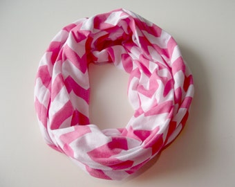 Pink Chevron Youth Infinity Scarf, Eternity Scarf, Kid Scarf, Chevron Scarf, Circle Scarf, Loop Scarf