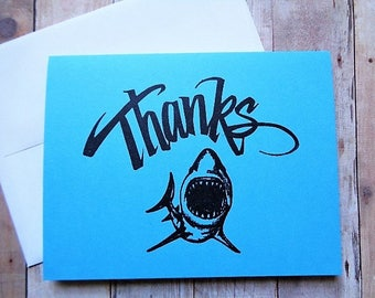 Shark Thank You Cards Kid's Shark Party Thanks Card Jaws Blank Inside