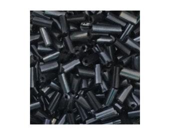 Hematite glass 5mm Bugle Beads 10gm