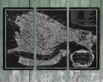 """Old Map of Venice on METAL Triptych 36x24"""" FREE SHIPPING"""
