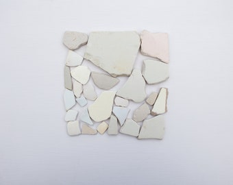 PASTEL SEA POTTERY, pink beige blue, pale, plain surf tumbled, ocean worn, Coastal art, reclaimed craft supplies, salvage mosaic tiles
