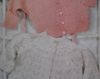 1960's 2 Vintage Knit PDF Patterns Baby Sweaters 6159