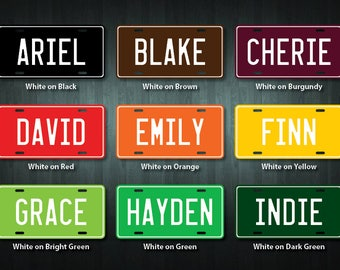 Personalized Metal License Plate (choose your wording and colour)