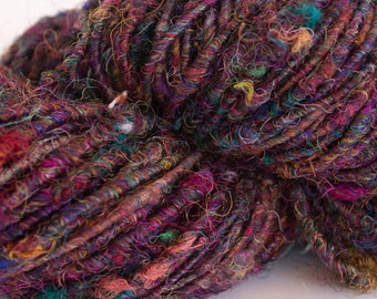Hand Spun Yarn- Recycled Sari Silk-Bulky Weight-92 yds