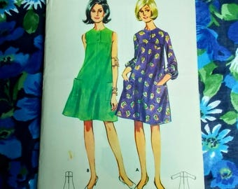 """Vintage Butterick Sewing Pattern - 1960's - Lady's tent dress - Size 12 bust 32"""" - Mpn 4239 - Unused and factory folded"""