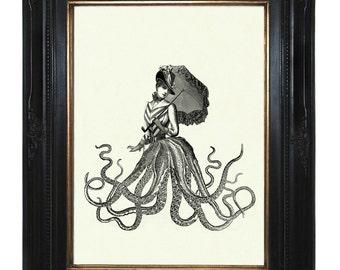 Steampunk Octopus Lady Art Print Umbrella Steampunk Parasol Kraken Tentacles - Victorian Art Print Gothic