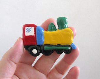 Yellow Train Drawer Knob - handmade dresser knob