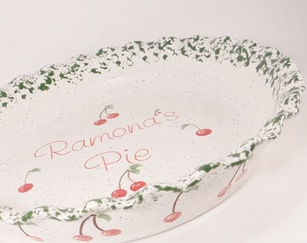 Cherry Pie Plate - Personalized Pie Plate - Ceramic Cherry Pie Dish - Deep Dish Bakeware - Personalized Baking Dish - Hand Painted Gift