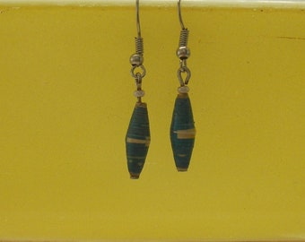 Blue and Yellow stripe Paper Bead Earrings Hand-made in Uganda